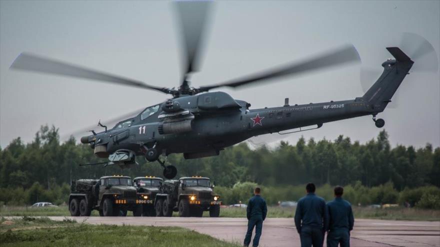 Un helicóptero de combate Mi-28NM de Rusia.