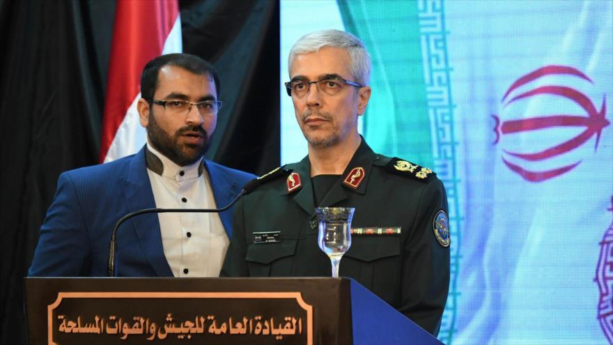 El jefe del Estado Mayor de las Fuerzas Armadas de Irán, Mohamad Hosein Baqeri, durante una conferencia de prensa en Siria, 18 de marzo de 2019.