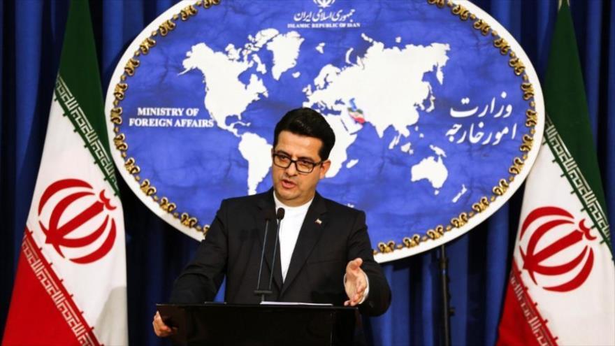 El portavoz de la Cancillería de Irán, Seyed Abás Musavi, en una rueda de prensa en Teherán, la capital.