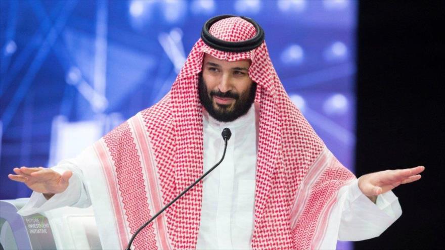 El príncipe heredero saudí, Muhamad bin Salman, durante un discurso, 24 de octubre de 2018.