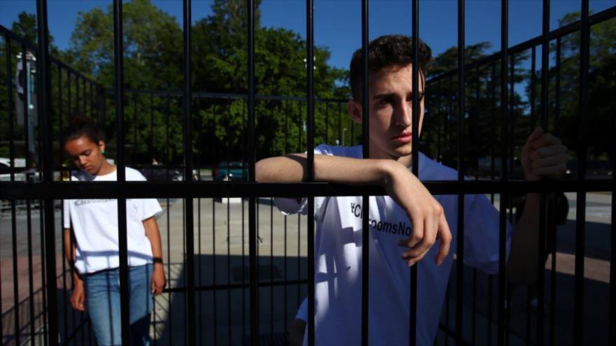 Niños protestan ante la ONU contra política migratoria de EEUU