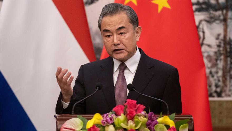 El canciller de China, Wang Yi, en una conferencia de prensa n Beijing, 19 de junio de 2019. (Foto: AFP)