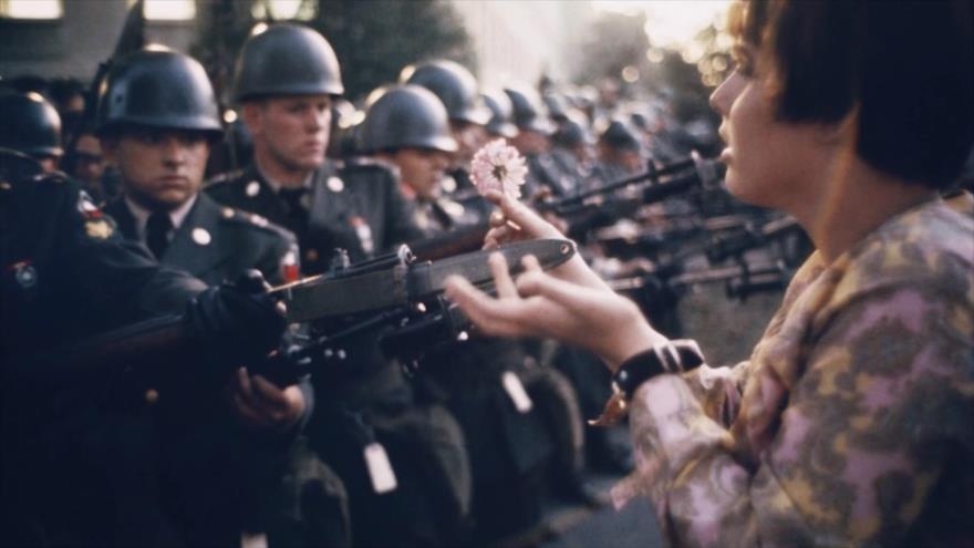 Fotos que sacuden al mundo: Chica de 17 años regalando flores a los soldados