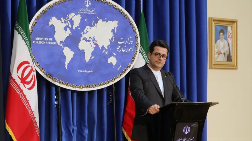 El portavoz de la Cancillería iraní, Seyed Abas Musavi, en una rueda de prensa en Teherán, 28 de mayo de 2019. (Foto: mfa.gov.ir)