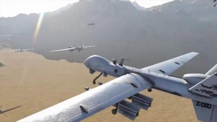 Los aviones no tripulados (drones) de Yemen, durante una operación militar contra los objetivos saudíes.