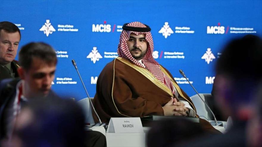 El viceministro de Defensa de Arabia Saudí, Jalid bin Salman, en un acto en Moscú (capital de Rusia).