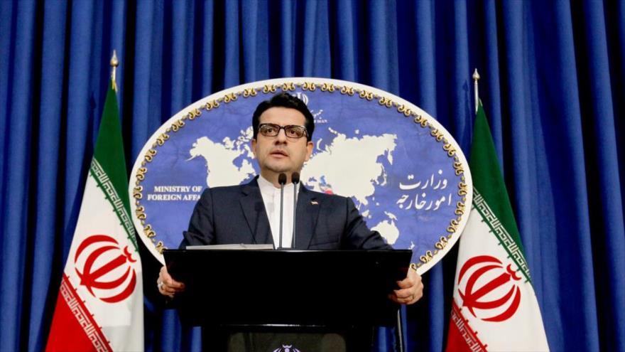El portavoz de la Cancillería iraní, Seyed Abas Musavi, en una rueda de prensa en Teherán, 17 de junio de 2019. (Foto: IRNA)