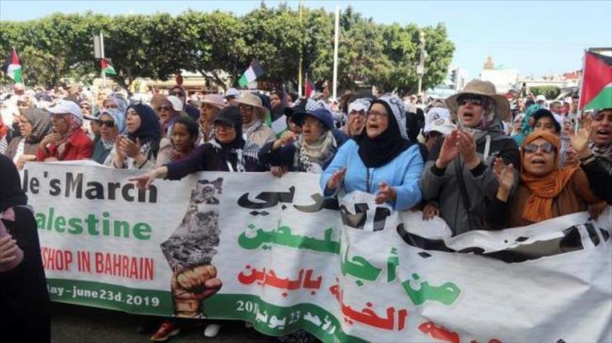 Miles de marroquíes protestan contra plan de EEUU para Palestina | HISPANTV