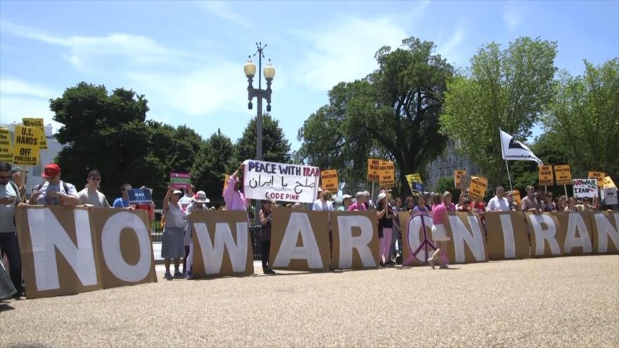 Protestan contra política belicosa de Trump con respecto a Irán