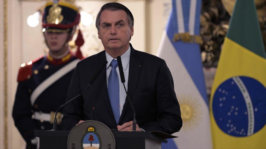 Jair Bolsonaro, presidente de Brasil, en una rueda de prensa en la Casa Rosada, en Argentina, 6 de junio de 2019. (Foto: AFP)