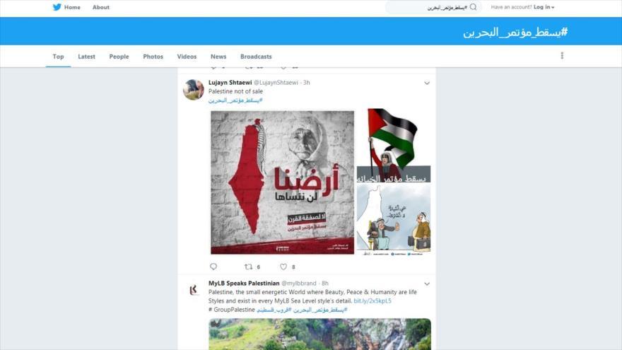 Algunos de los tuits en contra del foro de Manama.