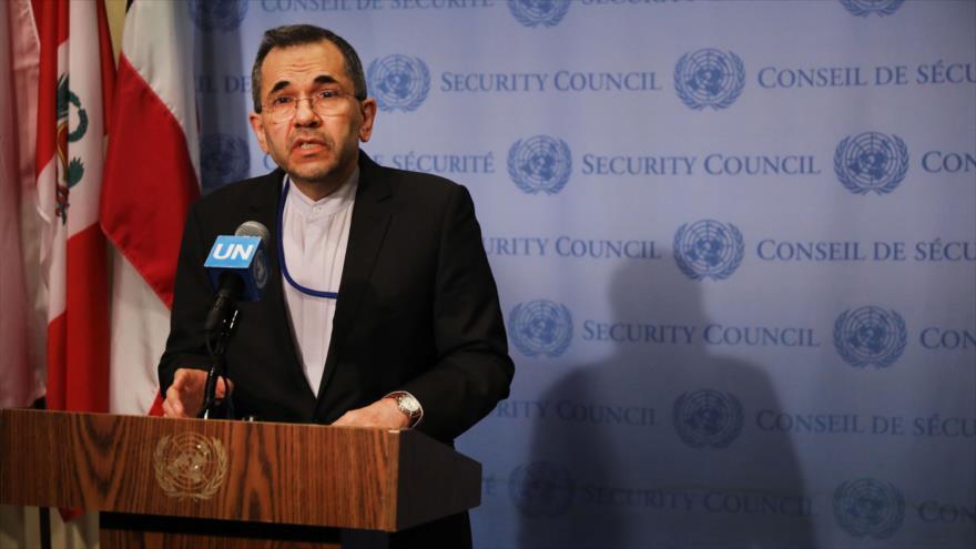 El embajador de Irán ante la Organización de las Naciones Unidas (ONU), Mayid Tajt Ravanchi, 24 de junio de 2019. (Foto: AFP)