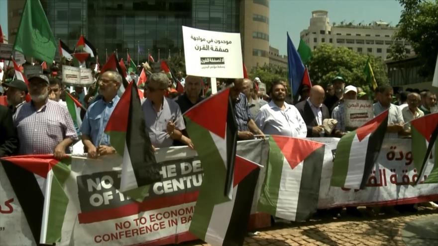Palestinos y libaneses en Beirut rechazan el 'acuerdo del siglo'