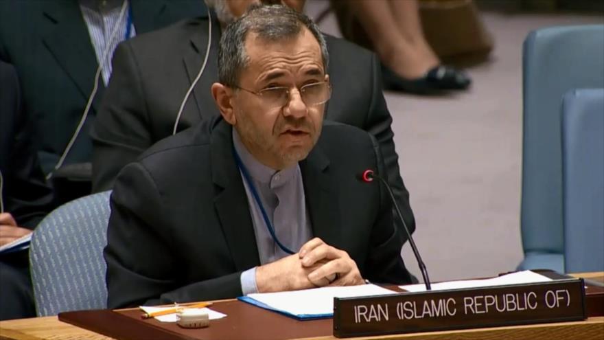 El embajador de Irán ante la ONU, Mayid Tajt Ravanchi, habla en una reunión del Consejo de Seguridad de Naciones Unidas (CSNU), 26 de junio de 2019.