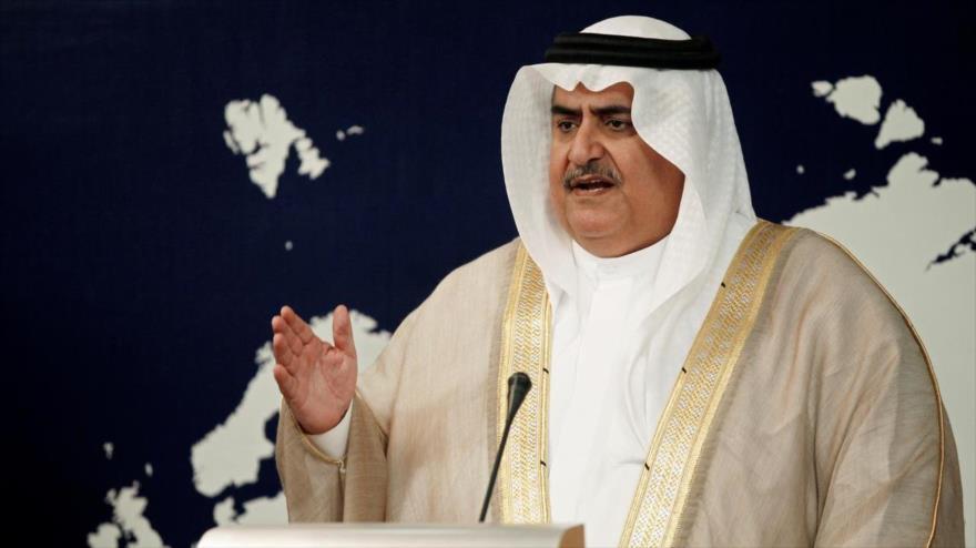 El canciller de Baréin, el sheij Jalid Bin Ahmad Al Jalifa, durante una rueda de prensa en Manama (capital), agosto de 2016. (Foto: Reuters)