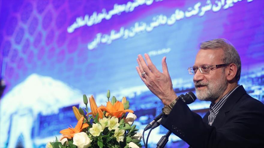Ali Lariyani, presidente del Parlamento iraní, habla en un acto público en Teherán, capital persa, 16 de junio de 2019. (Foto: Icana.ir)