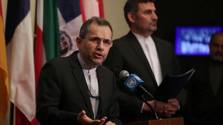 El embajador de Irán ante las Naciones Unidas, Mayid Tajt Ravanchi, habla en la sede de la ONU, Nueva York, 24 de junio de 2019. (Foto: Reuters)