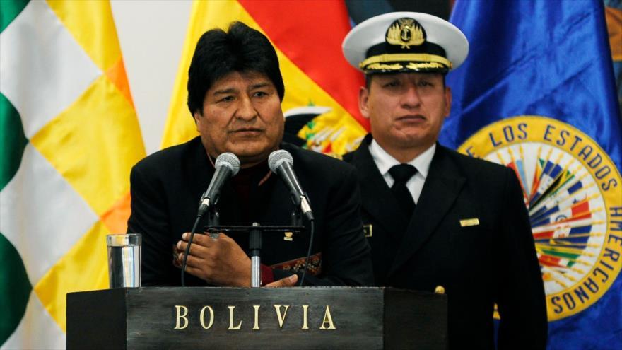 Evo Morales, presidente de Bolivia, habla en el palacio gubernamental en La Paz, 17 de mayo de 2019. (Foto: AFP)