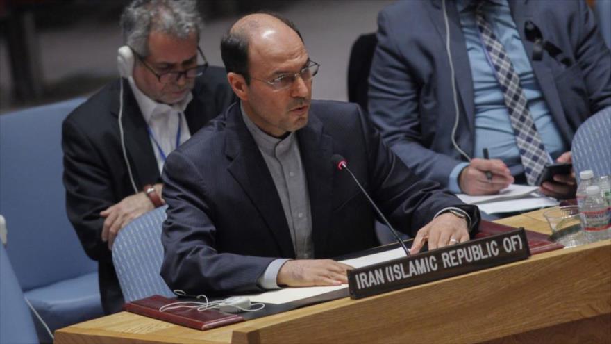 El viceministro para Asuntos Jurídicos de la Cancillería de Irán, Qolam Hosein Dehqani, en una sesión del Consejo de Seguridad.