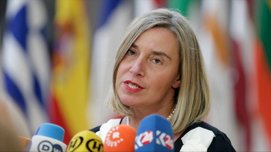 La jefa de la Diplomacia europea, Federica Mogherini, habla ante la prensa en Bruselas, 20 de junio de 2019. (Foto: AFP)