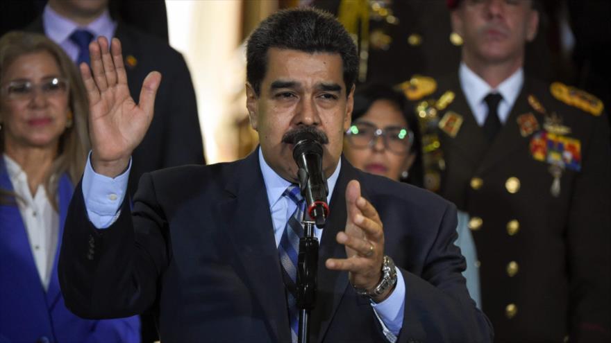El presidente de Venezuela, Nicolás Maduro, en un discurso en Caracas, 21 de junio de 2019. (Foto: AFP)