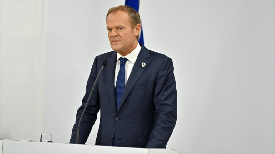 El presidente del Consejo Europeo, Donald Tusk, en una conferencia de prensa en Osaka, Japón, 28 de junio de 2019. (Foto: AFP)