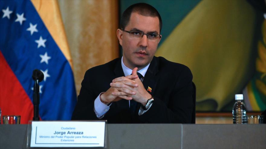 El canciller de Venezuela, Jorge Arreaza, durante una rueda de prensa en Caracas (la capital de Venezuela), 10 de mayo de 2019. (Foto: AFP)