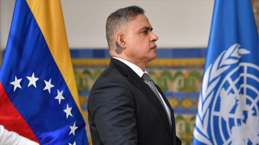 El fiscal general de Venezuela, Tarek William Saab, en una rueda de prensa en Venezuela, 20 de junio de 2019. (Foto: AFP)