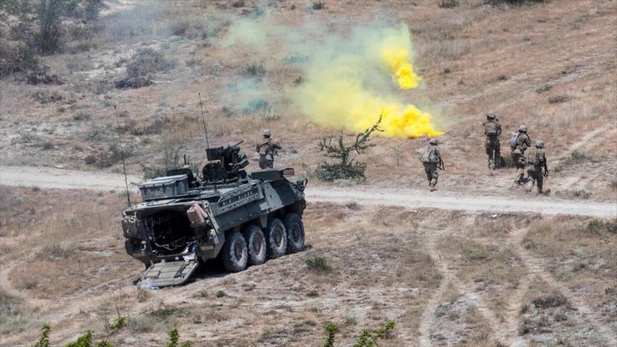 Fuerzas de EE.UU. participan en maniobras militares en Skopje, la capital de Macedonia, 17 de junio de 2019. (Foto: AFP)