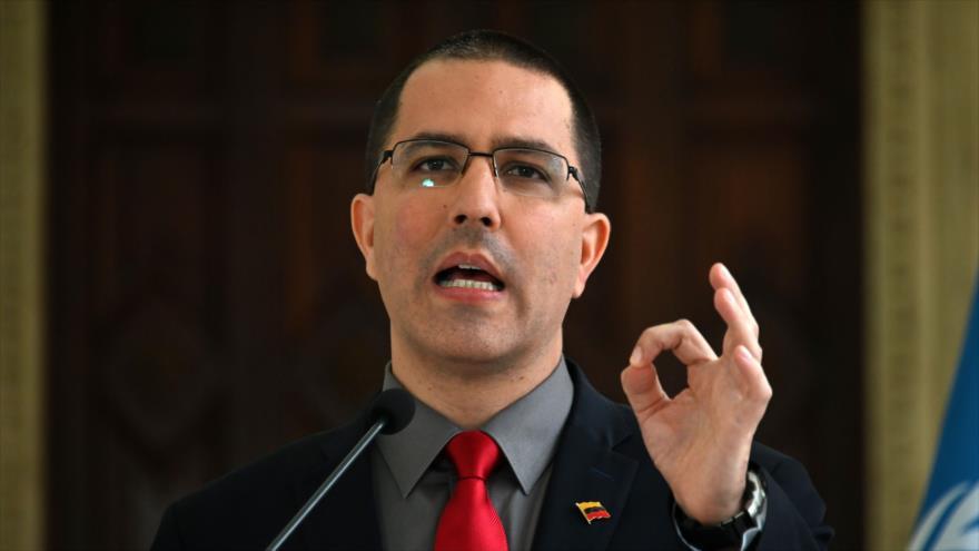 El canciller de Venezuela, Jorge Arreaza, ofrece un discurso en Venezuela, 9 de mayo de 2019. (Foto: AFP)