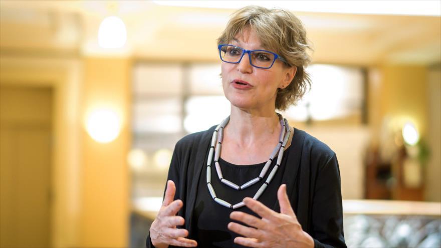 Agnes Callamard, relatora de la ONU que encabeza la investigación sobre el asesinato de Khashoggi, Ginebra, 19 de junio de 2019. (Foto: AFP)