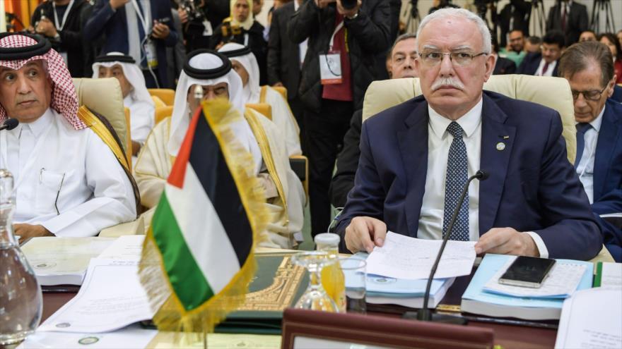 El ministro de Exteriores de Palestina, Riad al-Maliki, en una cumbre de la Liga Árabe (LA) en Túnez, 29 de marzo de 2019. (Foto: AFP).