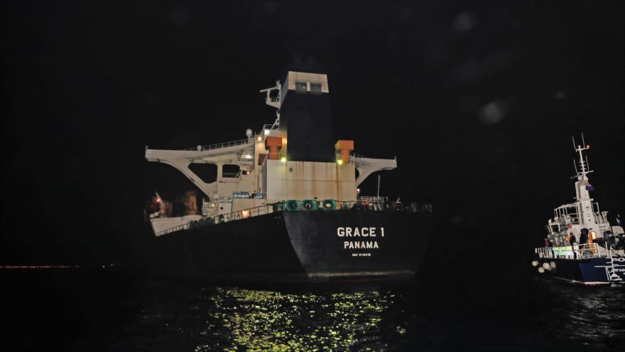 El buque Grace 1, que transportaba crudo iraní en el estrecho de Gibraltar, 4 de julio de 2019. (Foto: AFP)