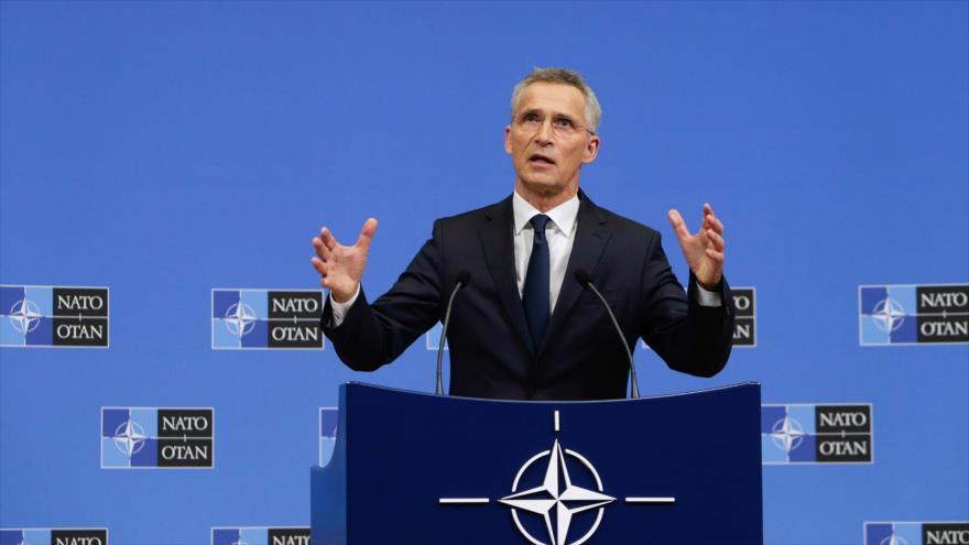 El secretario general de la OTAN, Jens Stoltenberg, habla al comienzo de una reunión en Bruselas (Bélgica), 27 de junio de 2019. (Foto: AFP)
