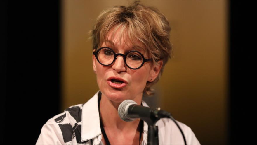 Relatora especial de la ONU sobre Asesinatos Selectivos y Ejecuciones Extrajudiciales habla en una conferencia en Londres, 9 de julio de 2019. (Foto: AFP)