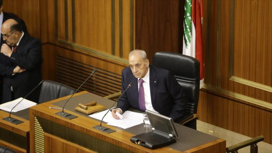Una sesión del Parlamento libanes, presidido por Nabih Berri.