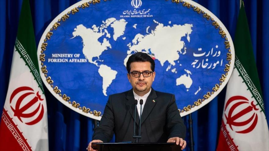 El portavoz de la Cancillería iraní, Seyed Abás Musavi, habla en una rueda de prensa en Teherán (capital persa), 8 de julio de 2019. (Foto: AFP)