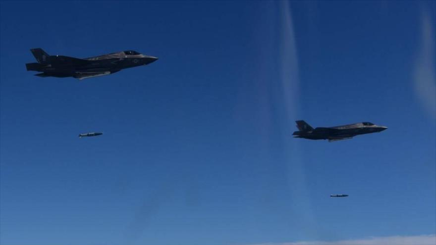 Cazas F-35B de EE.UU. durante una maniobra militar en la provincia de Gangwon, al este de Seúl (capital surcoreana), agosto de 2017. (Foto: AFP)