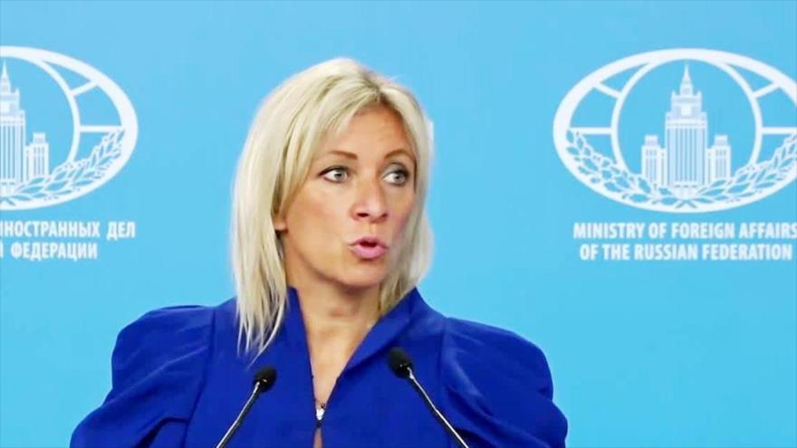 La portavoz de la Cancillería rusa, María Zajárova, habla en una conferencia de prensa, 11 de julio de 2019.