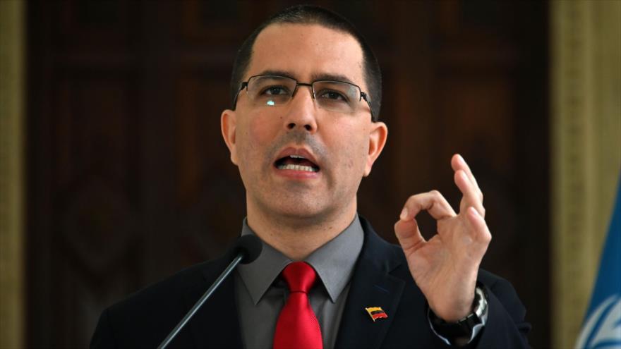Jorge Arreaza, canciller venezolano, habla tras un encuentro en Caracas, capital, 9 de mayo de 2019. (Foto: AFP)