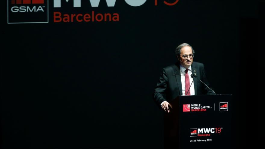 El presidente catalán, Quim Torra, en el Museo Nacional de Arte de Cataluña, en Barcelona, 24 de febrero de 2019. (Foto: AFP)