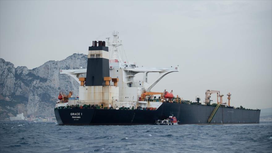 El petrolero Grace1 retenido en el estrecho de Gibraltar, 6 de julio de 2019. (Foto: AFP)