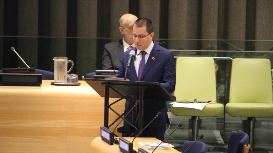 El canciller de Venezuela, Jorge Arreaza, participa en un Foro de Desarrollo Sostenible en la ONU, 17 de julio de 2019.