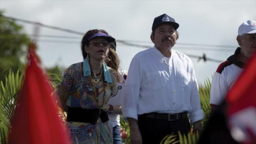 El presidente de Nicaragua, Daniel Ortega, junto a su mujer (vicepresidenta del país), Rosario Murillo.
