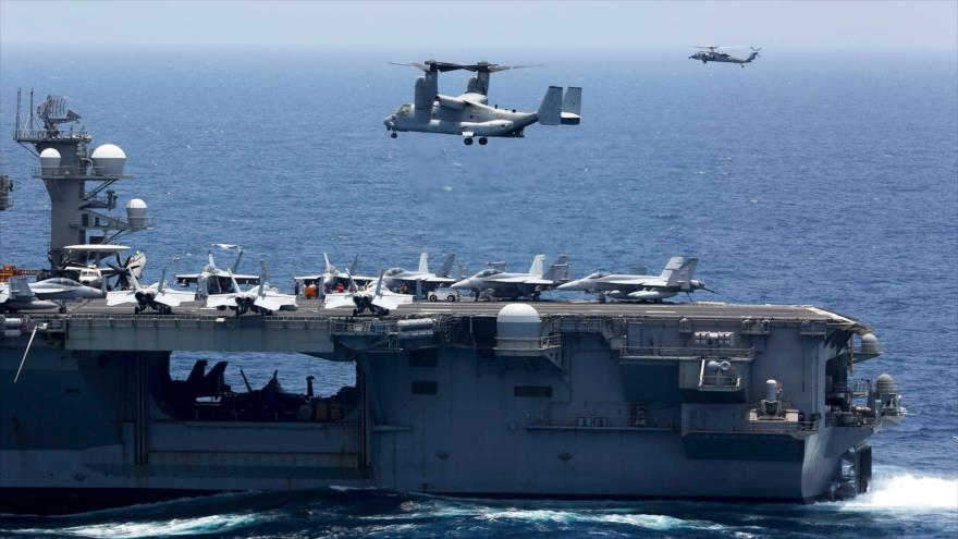 El portaviones Abraham Lincoln de EE.UU. desplegado en el mar Árabe, 17 de mayo de 2019. (Foto: AFP)