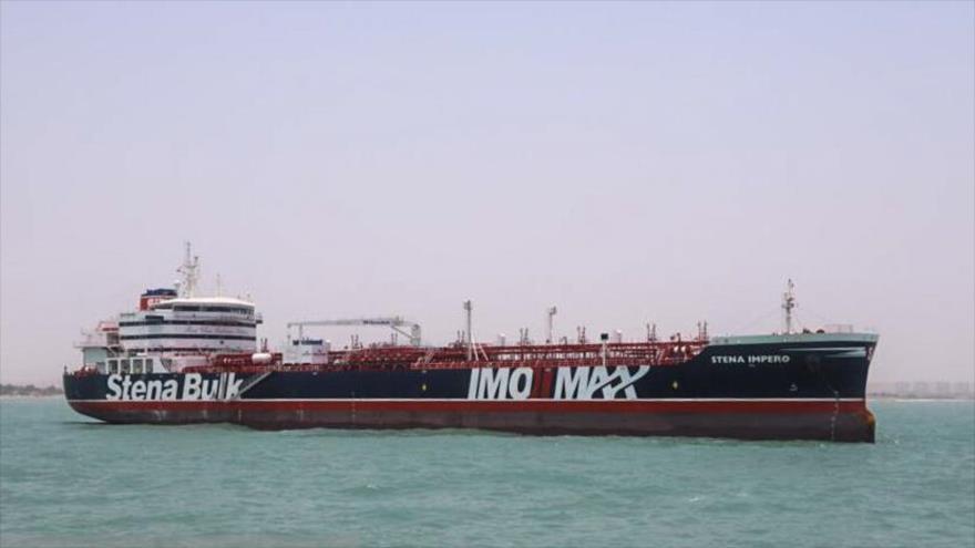 El buque petrolero Stena Impero, perteneciente al Reino Unido, anclado en el puerto de Bandar Abás, en el sur de Irán, 20 de julio de 2019. (Foto: ISNA)