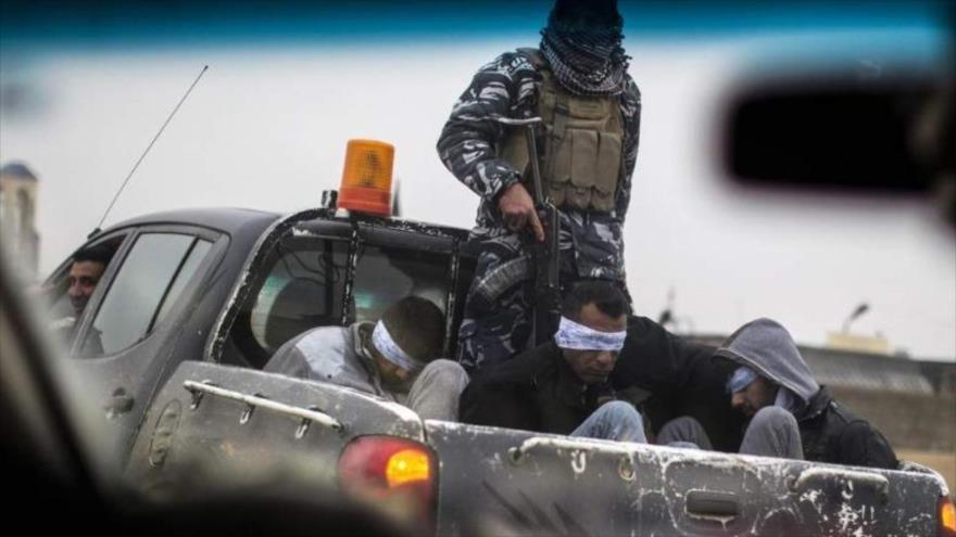 Las fuerzas iraquíes detienen a un grupo de los terroristas de EIIL (Daesh, en árabe).