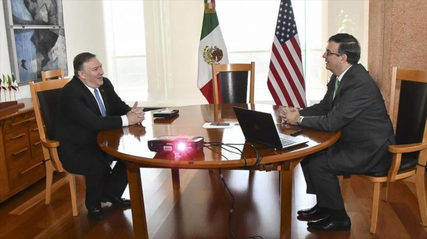 El secretario de Relaciones Exteriores de México, Marcelo Ebrard, reunido con el secretario de Estado de EE.UU., Mike Pompeo, en Ciudad de Mexcico, 21 de julio de 2019.