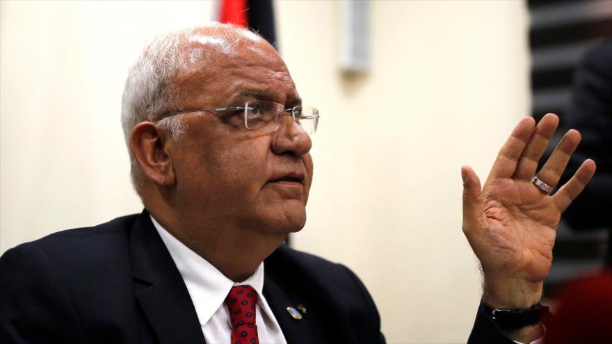 El secretario general de la Organización para la Liberación de Palestina (OLP), Saeb Erekat, en Ramalá, 10 de abril de 2019. (Foto: AFP)