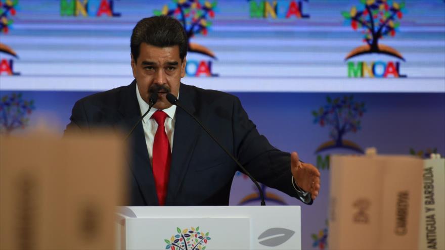 El presidente de Venezuela, Nicolás Maduro, durante la cumbre del Movimiento de Países No Alineados en Caracas, 20 de julio de 2019. (Foto: AFP)